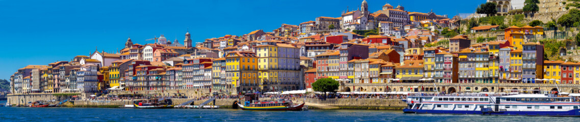 Panorama of Ribeira historic center with colorful houses of Porto, Portugal