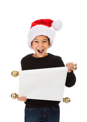 Christmas: Boy Reading Santa's Naughty Nice List
