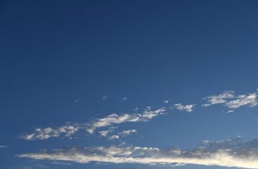 細長く伸びた雲と天空に広がる青空「空想・雲のモンスターたち」(細長く伸びる、長いなどのイメージ)
