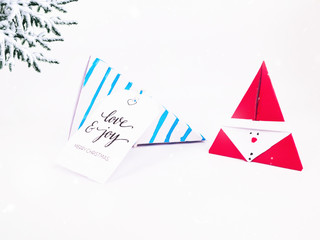 Christmas Decoration with Blue Triangle Wafers Gift Box and christmas with snow falling for holidays best for background image for Holiday invitation and banners and blogs