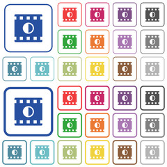 Movie contrast outlined flat color icons