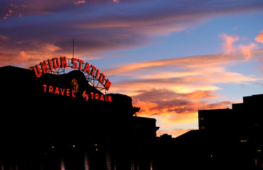 Denver's Union Station is seen at sunset in downtown Denver