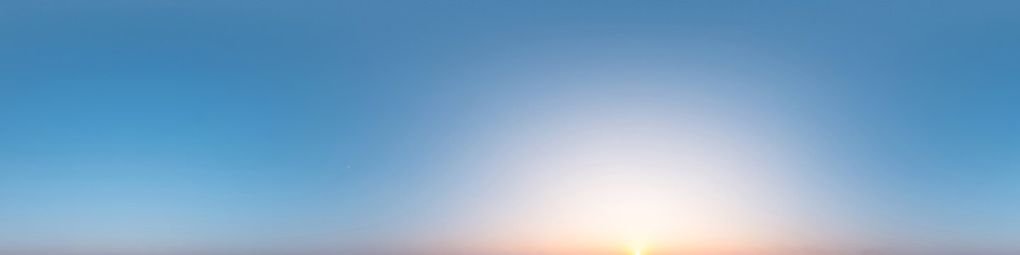 360 degree sky panorama clear blue and purple sky before sunset