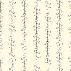 Seamless stripe pattern with hand drawn swirls and hearts