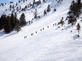 Climbers in the mountain with snow