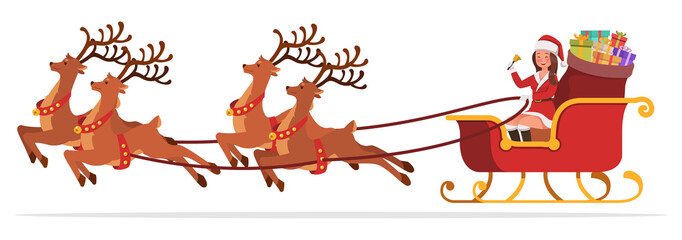 Santa Claus woman character vector design for christmas. Presentation in various action. no6