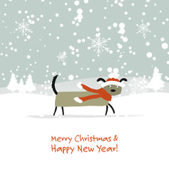 Christmas card, santa dog in forest. Symbol of 2018