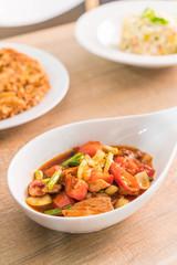 Stir-fried pork with roasted sweet chili paste