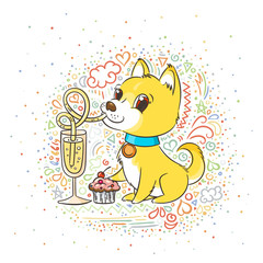 Golden dog with the champagne or lemonade and a cake. New Year symbol of 2018.