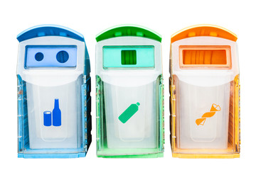 Colorful plastic bins for different waste types on white background