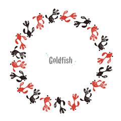 金魚のリース、暑中見舞いの夏素材