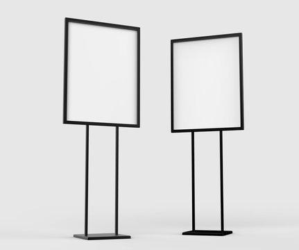 Indoor Pedestal Steel Sign Stand poster banner advertisement Display, Lobby Menu Board. Blank white 3d rendering.