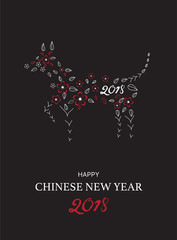 Chinese New Year 2018 festive vector card Design with dog zodiac,Vector illustrations.