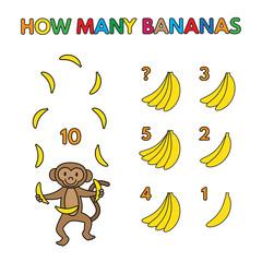 Cartoon Monkey Counting Bananas Vector Set
