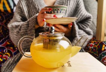 seabuckthorn tea in the teapot