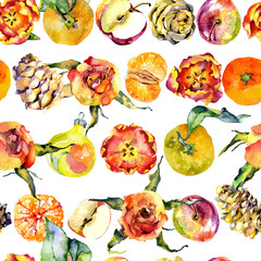Delicious still life with orange mandarins, red apples, beautiful roses, spring tulips, fir cones, New Year's toys. Watercolor. Illustration