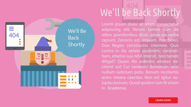 Well be Back Shortly Conceptual Banner
