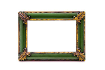 Empty Wooden Double Picture Frame on White Background