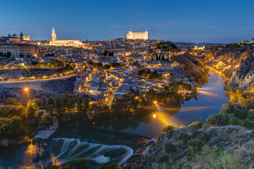 The old city of Toledo in Spain at night