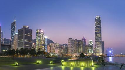 Panorama of Skyline of Hong Kong city at dusk