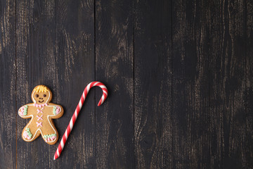 Candy Canes on a Rustic wooden Background