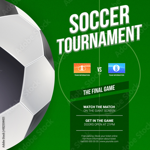 Soccer Or European Football Tournament Poster Mock Up Of Banner For Compeion Sport Events Ilration Template Print Design