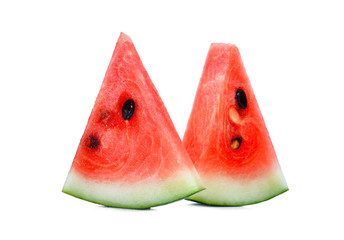 fresh two sliced red watermelon isolated on white background