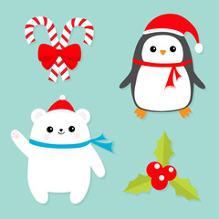 Merry Christmas icon set. Candy Cane stick with red bow. Penguin bird, white polar bear cub wearing Santa Claus hat, scarf. Holly berry Mistletoe. Flat design. Blue background
