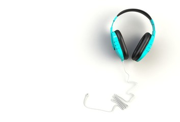Blue headphones on white background, Top view with copyspace for your text, 3D rendering