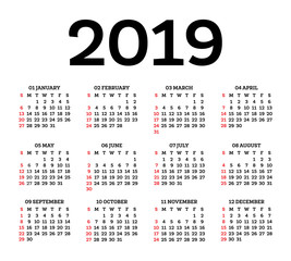 Calendar 2019 Isolated on White Background. Week starts from Sunday.