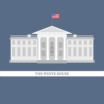 Vector illustration of white house flat style building. The white house in Washington DC.