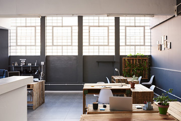Interior of a design studio with no staff members