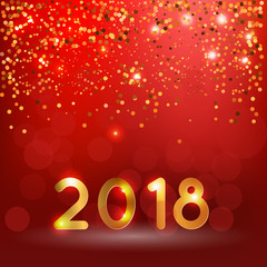 2018 year illustration, bokeh red background with golden decoration