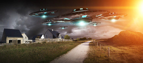 UFO invasion on planet earth landascape 3D rendering