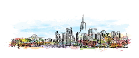 Watercolor splash with sketch illustration of City Skyline Chicago, USA in vector.