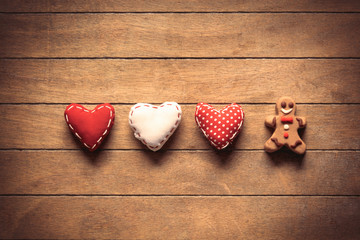 Heart shape toys with gingerbread man cookie