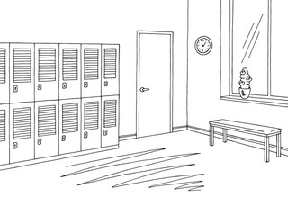 School corridor lobby graphic black white interior sketch illustration vector