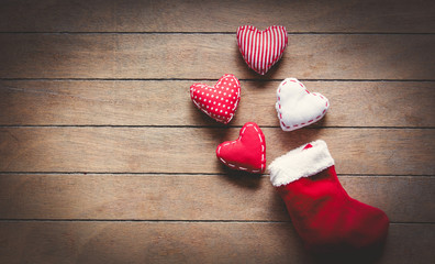 Santa Claus sock and heart shape toys