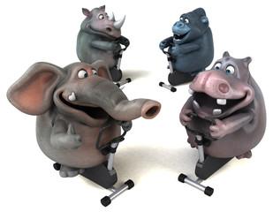 Fit hippo, rhino, elephant and gorilla - 3D Illustration