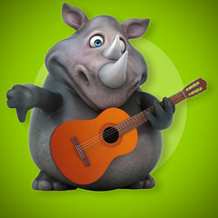Fun rhino - 3D Illustration