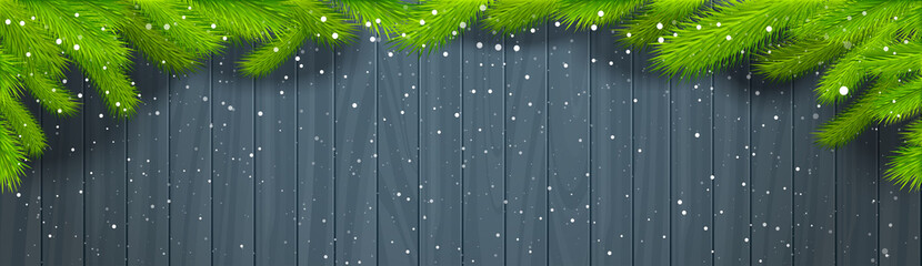 Winter Background Wooden Texture With Green Christmas Tree Branches And Snowflakes Horizontal Banner Illustration