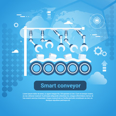 Smart Conveyor Web Banner With Copy Space On Blue Background Vector Illustration