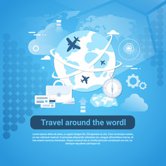 Travel Around World Web Banner With Copy Space On Blue Background Vector Illustration