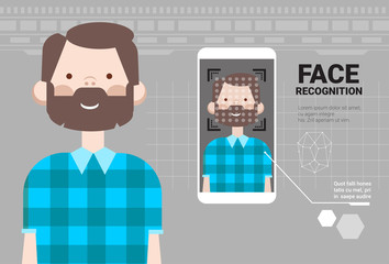 Smart Phone Scanning Man Face Modern Identification System Modern Technology Of Biometrical Recognition Concept Vector Illustration