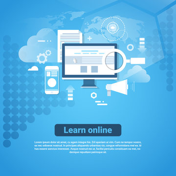 Learn Online Template Web Banner With Copy Space Distant Education Concept Flat Vector Illustration