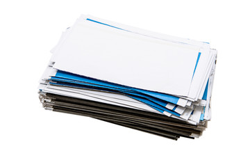 Stack of envelopes/letters isolated on white background