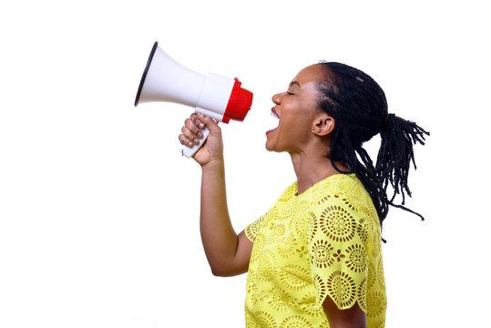 African American woman shouting at megaphone