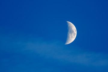 Fase de la luna en cuarto creciente.