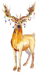 Christmas Deer with garland, watercolor illustration isolated on white background.
