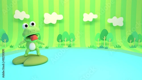 Looped 3d cartoon little green frog jumping on a lily pad in the pond animation.